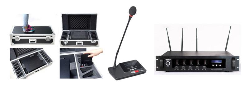 Satu paket mic rapat wireless terdiri dari Charger mobile, mikrofon ketua rapat, peserta rapat, peralatan utama