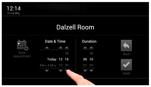 Booking ruangan di monitor tentukan tanggal dan waktu