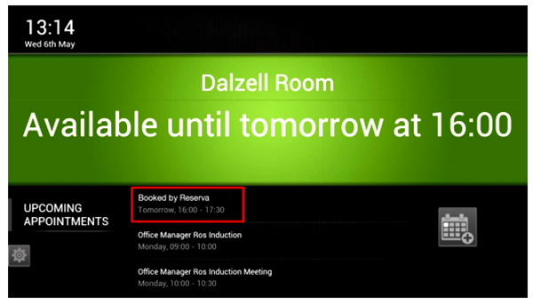 Booking meeting room. update seketika pada monitor