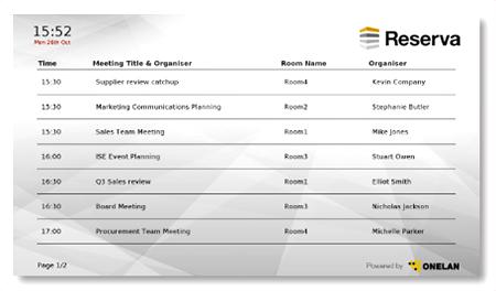 Monitor informasi booking ruangan rapat
