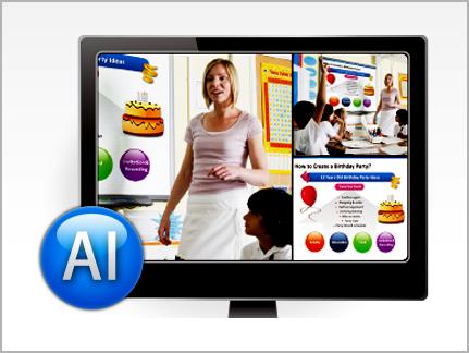 Alat-rekam-audiovisual-pengajaran-pendidikan-di-kelas-sekolah,-tampilan-monitor-sesuai-keinginan.