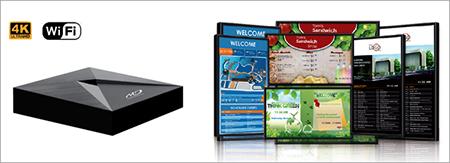 Digital signage monitor di restoran, informasi harga/menu/promo dengan mudah dapat diubah.