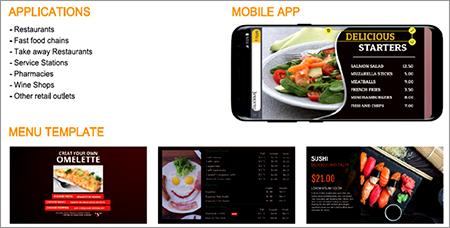 Digital signage monitor iklan menu di restoran. Kita dapat dengan mudah mengganti harga/menu/promo dll menggunakan handphone